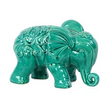 Embellished with Beautiful Motifs Adorable Ceramic Elephant Figurine