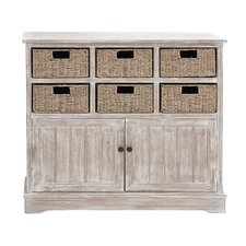 Wood 6 Basket Cabinet
