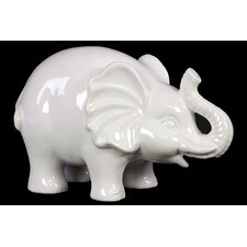 Happy and Cheerful Trumpeting Ceramic Elephant Figurine