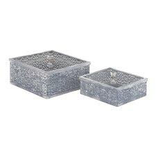 Stunning 2 Piece Metal Glass Box Set