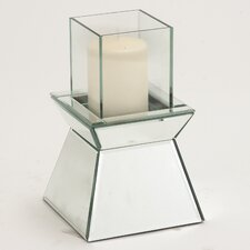 Attractive Beveled Wood / Mirror Candle Holder