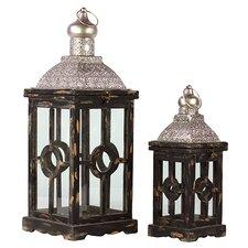 2 Piece Lamp Post Design Wooden Lantern Set
