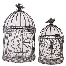 2 Piece Round Based Metal Bird Cage Set with Handle (Set of 2)