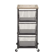 Compact and Simple Metal Wood Storage Trolly