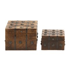 2 Piece Timelessly Classic Wood Metal Box Set