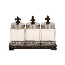 Glass Metal Jar (Set of 3)