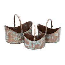 Flat Base Metal Planters (Set of 3)