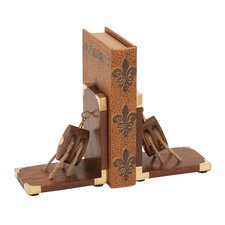 <strong>Woodland Imports</strong> Wood Brass Book Ends (Set of 2)