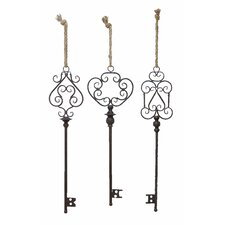 <strong>Woodland Imports</strong> 3 Piece Key Wall Décor Set