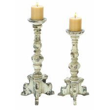 <strong>Woodland Imports</strong> Contemporary Wood Candle Holder (Set of 2)