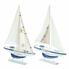 <strong>Woodland Imports</strong> 2 Piece Aquatic Fauna Sailing Model Boat Set
