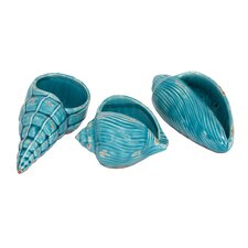 3 Piece Ceramic Shells Statue Set (Set of 3)