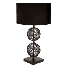 "Unique Rattan 30"" H Table Lamp with Drum Shade"