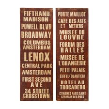 <strong>Woodland Imports</strong> New York and Paris Tourist Destinations Wall Décor (Set of 2)