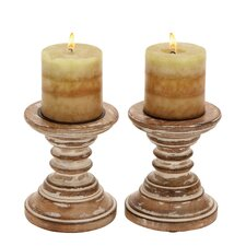Wood Candlestick (Set of 2)