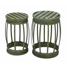 Barrel Shaped Bar Stool 2 Piece Set