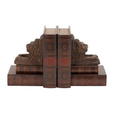 Wood and Leather Lion Book End (Set of 2)