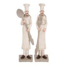 2 Piece Polystone Chef Figurine
