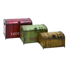<strong>Woodland Imports</strong> Vintage Steamer 3 Piece Trunk Set