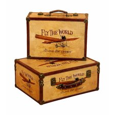 'Fly the World' 2 Piece Wooden Trunk Set