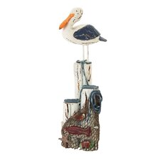 Seaside Nautical Perched Seagull and Net Figurine