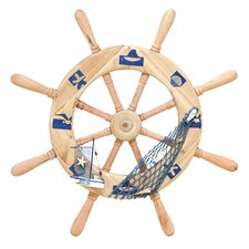 <strong>Woodland Imports</strong> Seaside Nautical Ship Helm Wall Décor