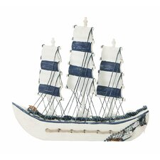 <strong>Woodland Imports</strong> Seaside Nautical Trade Sailing Model Ship