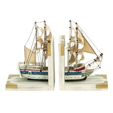 <strong>Woodland Imports</strong> Nautical Coastal Book Ends (Set of 2)