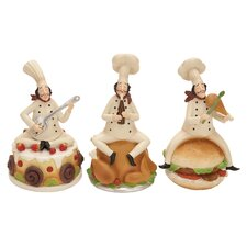 3 Piece Polystone Chef Figurine