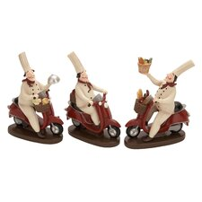 3 Piece Polystone Chef Figurine Set