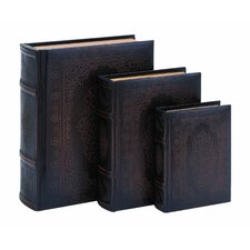 Floral Smooth Leather Book Box (Set of 3)