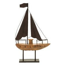 <strong>Woodland Imports</strong> Décor Nautical Waving Flag Sail Model Boat