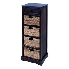 <strong>Woodland Imports</strong> Cabinet with 4 Wicker Basket Chest