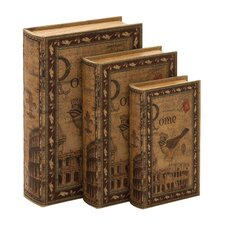 3 Piece Classic Library Wood Storage Book Set in Brown
