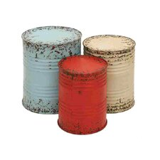 <strong>Woodland Imports</strong> Drum End Table Set (Set of 3)