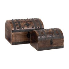 <strong>Woodland Imports</strong> Wood Metal Box (Set of 2)