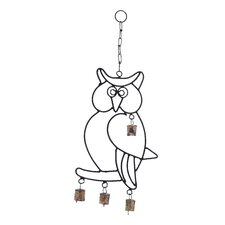 <strong>Woodland Imports</strong> Wall Hanger Metal Owl Wind Chime