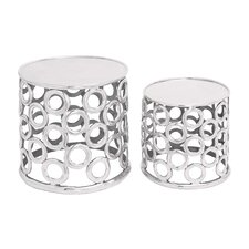 <strong>Woodland Imports</strong> Aluminum Stool (Set of 2)