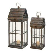 Wood Lanterns (Set of 2)