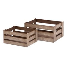 <strong>Woodland Imports</strong> Wood Crate Basket (Set of 2)