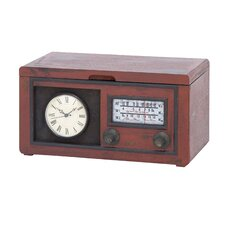 Radio Attached Wood Cabinet with Antique Clock
