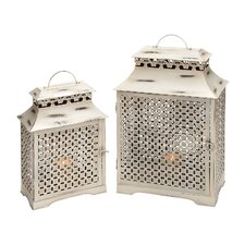 <strong>Woodland Imports</strong> Metal Lanterns (Set of 2)