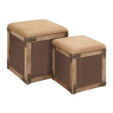 <strong>Woodland Imports</strong> Stool with Extra Storage Space (Set of 2)