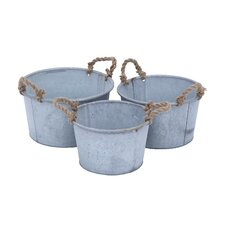 <strong>Woodland Imports</strong> Oval Pot Planter (Set of 3)
