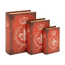 Unique Wood Book Box (Set of 3)