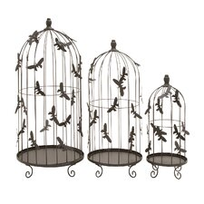 Bird Cage with Metal Butterflies All Over Cage (Set of 3)