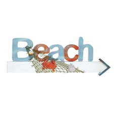 <strong>Woodland Imports</strong> Beach Sign in Marine Theme with Net and Marine Life Wall Décor