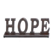 "Beautiful Wooden Table with Word ""Hope"" Statue"