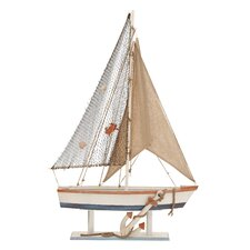 Beautiful Wood Sailing Boat with Realistic Anchor on the Hull