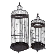 Metallic Metal Bird Cage (Set of 2)